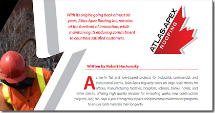 ATLAS-APEX ROOFING INC. IN BUSINESS IN FOCUS MAGAZINE, APRIL 2015